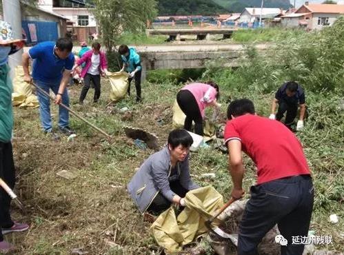 图为延边州残联党员干部在东新村开展环境卫生整治活动