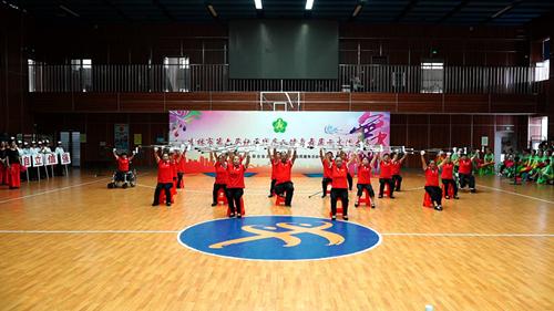图为残疾人健身舞展示交流大赛现场